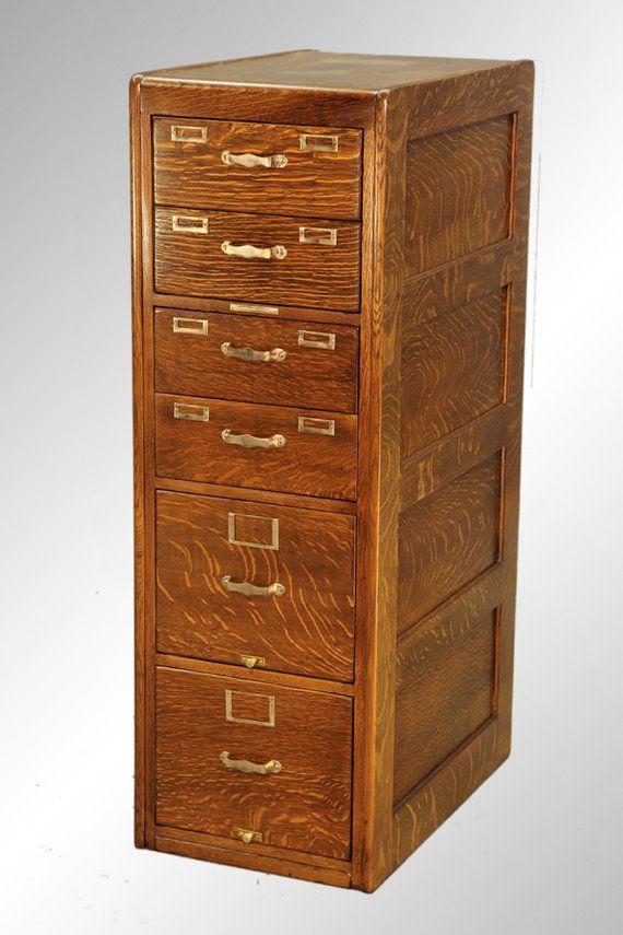 16119 Antique Unusual Oak Victorian File Cabinet by Library Bureau