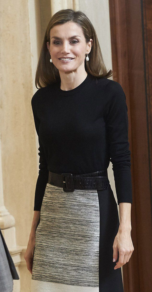 Queen Letizia of Spain chose a muted palette of black, white and grey for the reception in Madrid