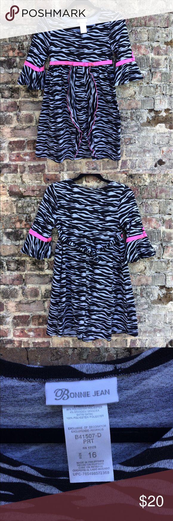 Bonnie Jean zebra print dress Bonnie Jean zebra print dress with pink accents. Size 16 & very gently used. Bonnie Jean Dresses