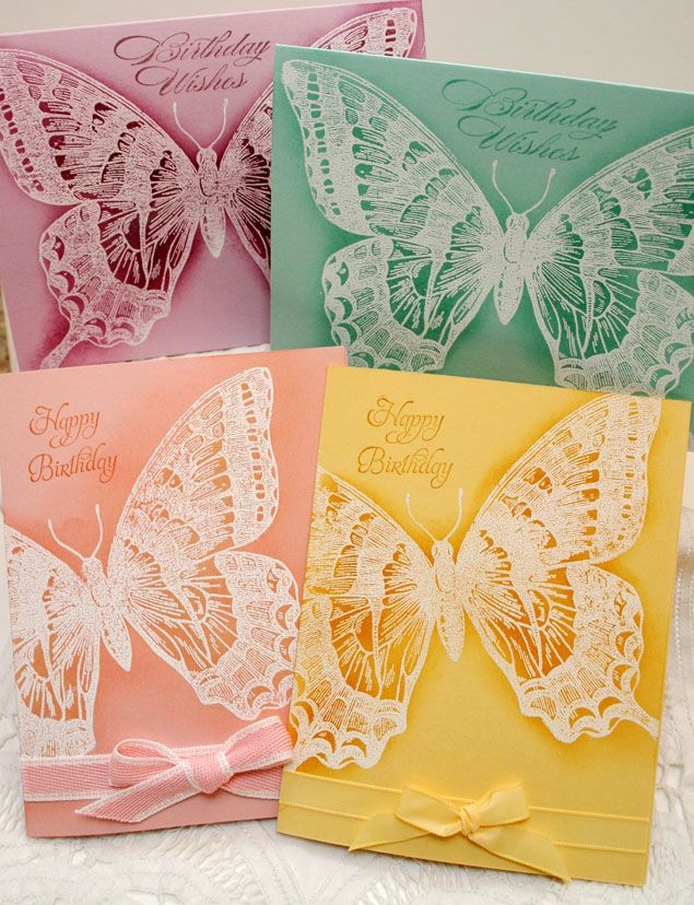 SU! Swallowtail stamp; white embossing on Pale Plum, Pool Party, So Saffron and Blushing Bride cardstock - Joanne Travis