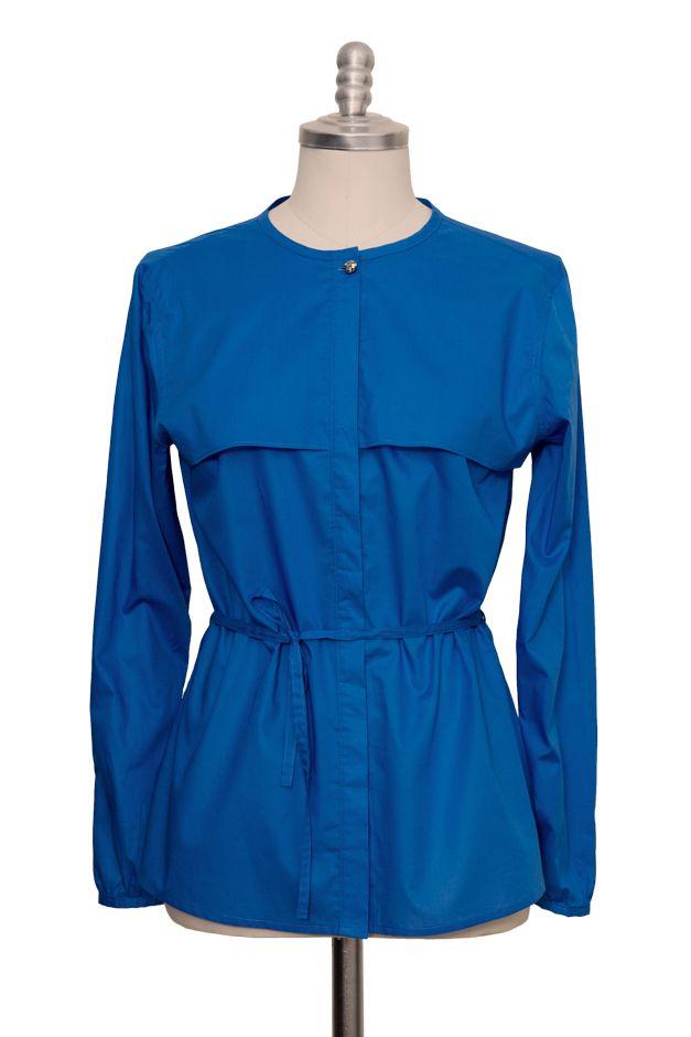 blaue casual Bluse aus feiner Batist Baumwolle - Sveekery Berlin