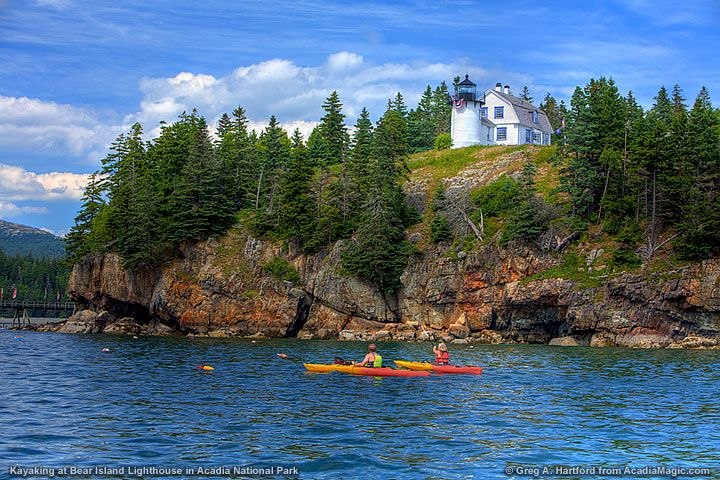 Kayaking near the Bear Island Lighthouse in in Acadia National Park....That's it I need to get over it and kayak!