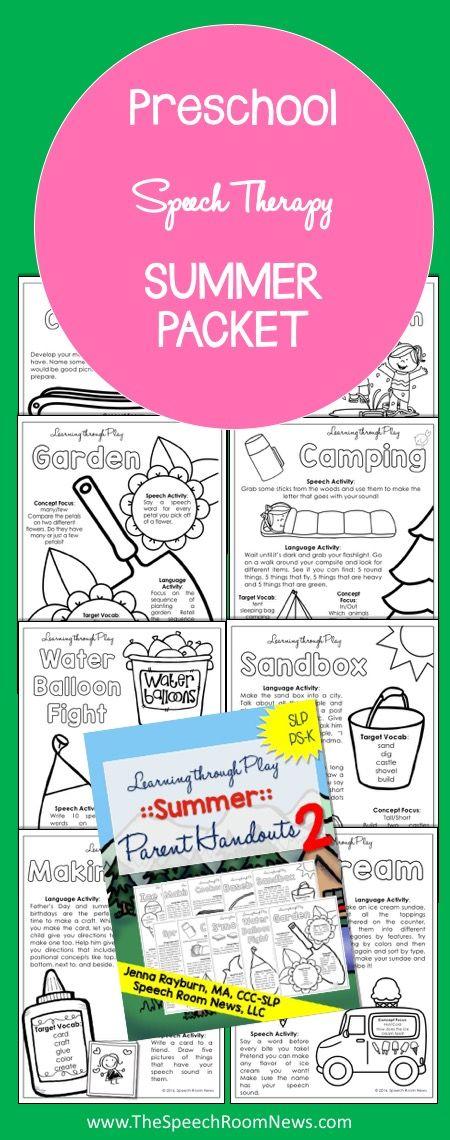 Preschool Speech Therapy Summer Packets - Speech Room News