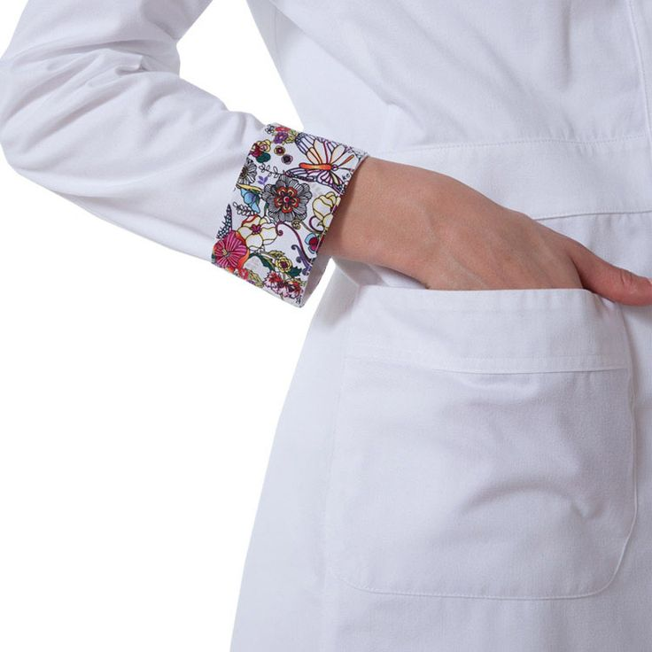 I LOVE the cute detail on the cuffs of this plain white lab coat