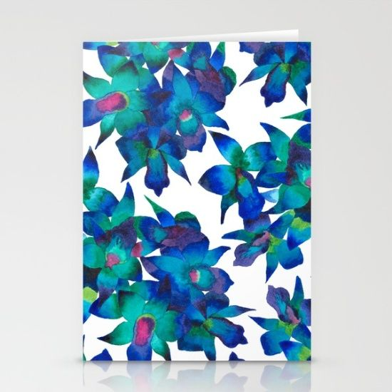 Orchid Fascination  - orchid #orchidlovers #pattern #art #artwork #design #blue #flowers #botanical #society6 #decor #interiordesign #watercolor #cards #stationary