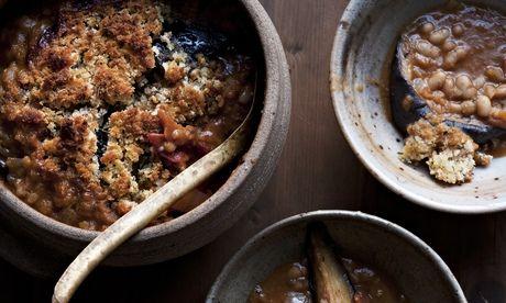 Nigel Slater's crusty aubergine 'cassoulet' in earthenware bowls