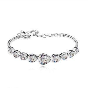 NiceDeco - Clear Shiny Heart. Fashion Jewelry 18K White Gold Plated Alloy Bangle Bracelet with Heart Shaped Austria Swarovski Elements Crystal.Size:5.5*4.7CM. Swarovski Bracelet