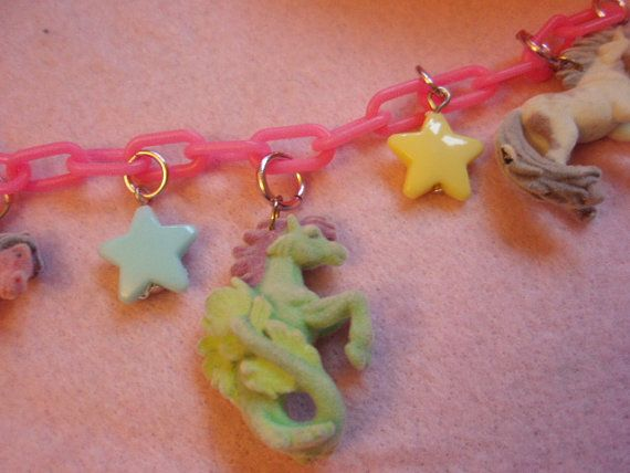 Pretty Flocked Horses And Stars Rainbow Color Plastic by zefora, $15.00