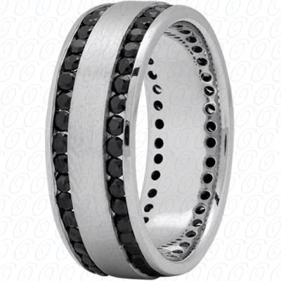 Mens Wedding Band White Gold With Black Diamonds