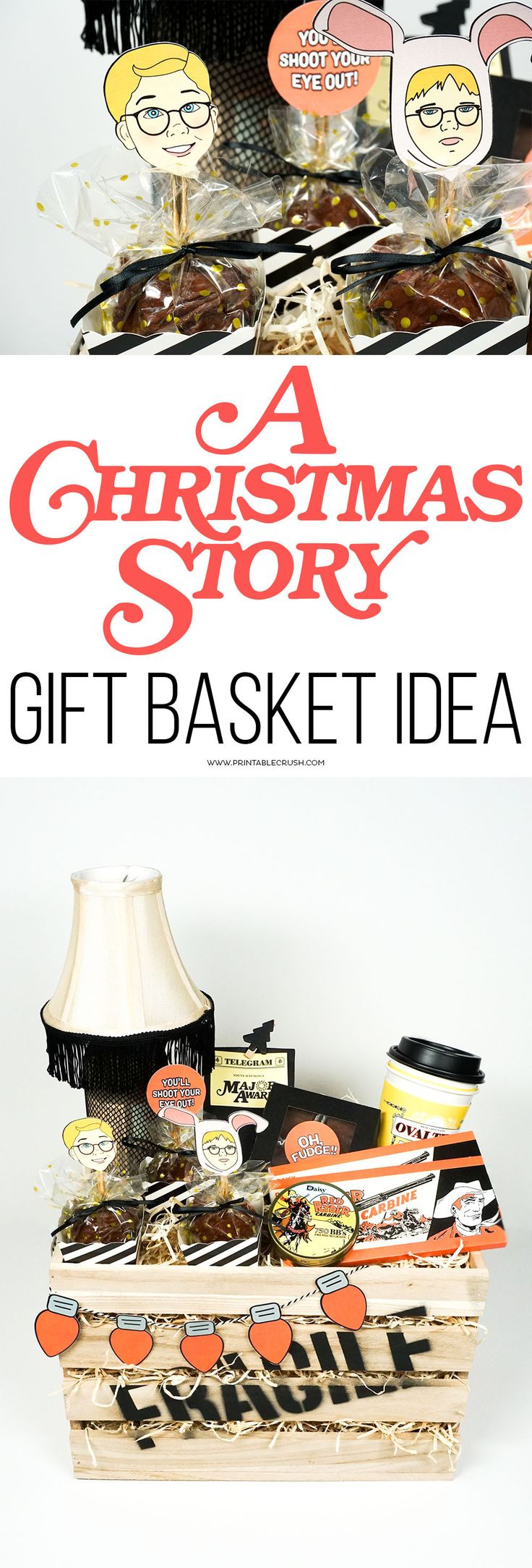 "Have a friend that's a Christmas movie fan? They'll love this A Christmas Story Gift Basket Idea! It's complete with a leg lamp drink, Red Ryder chocolate bars and ""BB's"", and so much more!"
