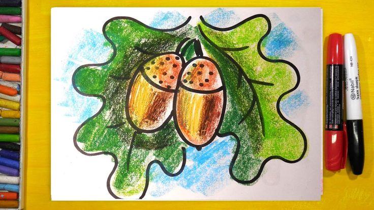 Как нарисовать ЖЕЛУДИ от ДУБА / Уроки рисования для детей от РыбаКит