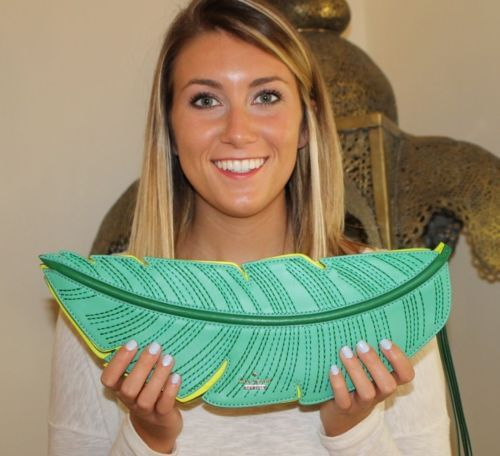 NWOT-Kate-Spade-Bananas-Leaf-Green-Leather-Flight-of-Fancy-Clutch-BEAUTIFUL