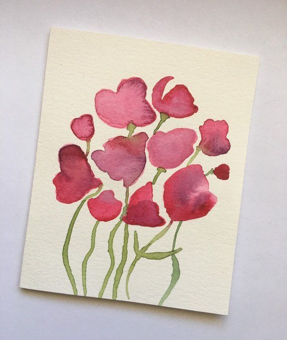 Hand Painted Watercolour Floral Greeting Card Abstract Floral