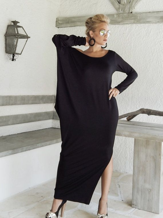 Black Maxi Long Sleeve Dress / Black Kaftan / Asymmetric Plus