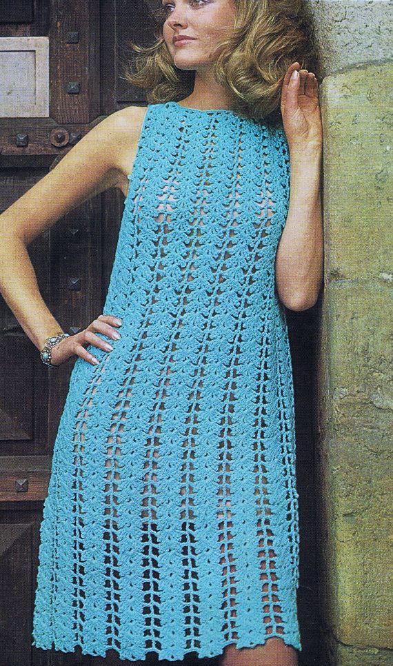 VKNC76 Vintage 1960's Crochet Ladies Dress by VintageKnitNCrochet, £1.95