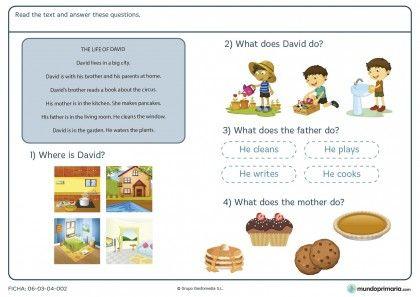 Ficha de text about life of a boy para primaria