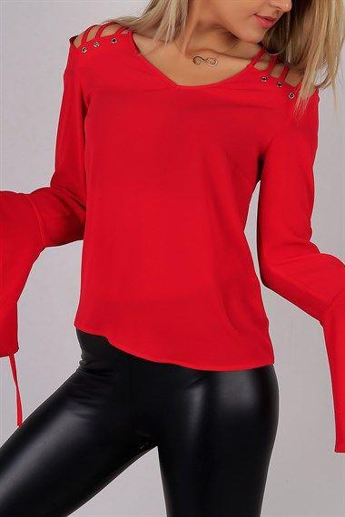 Kolları Volan Omuz Detay Kırmızı Bayan Bluz 5544B
