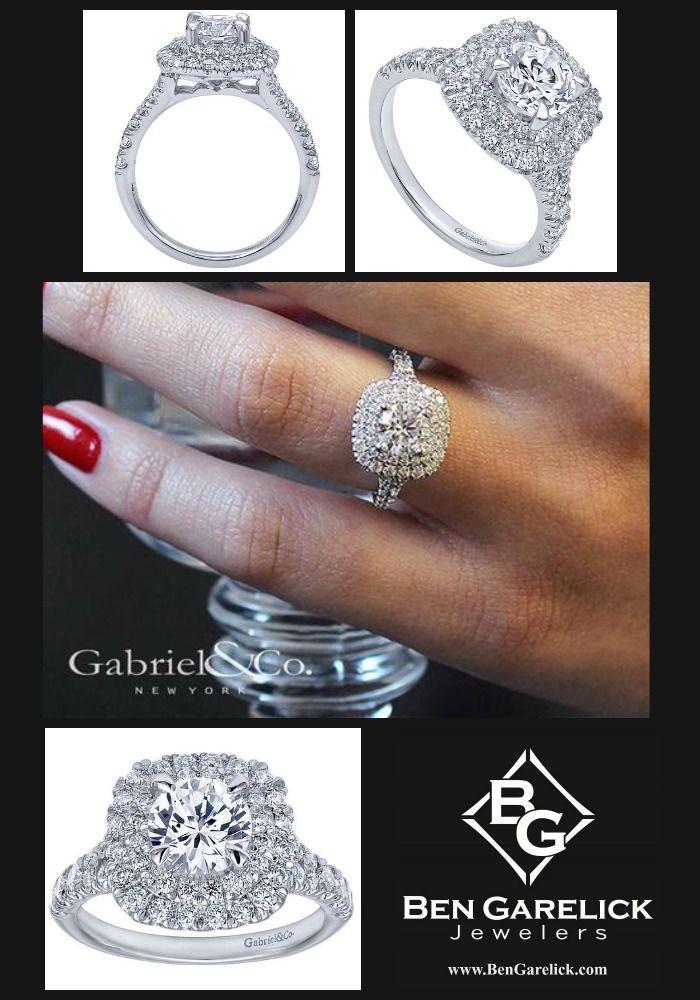 "Gabriel ""Norah"" Double Halo Cushion Diamond Engagement Ring"