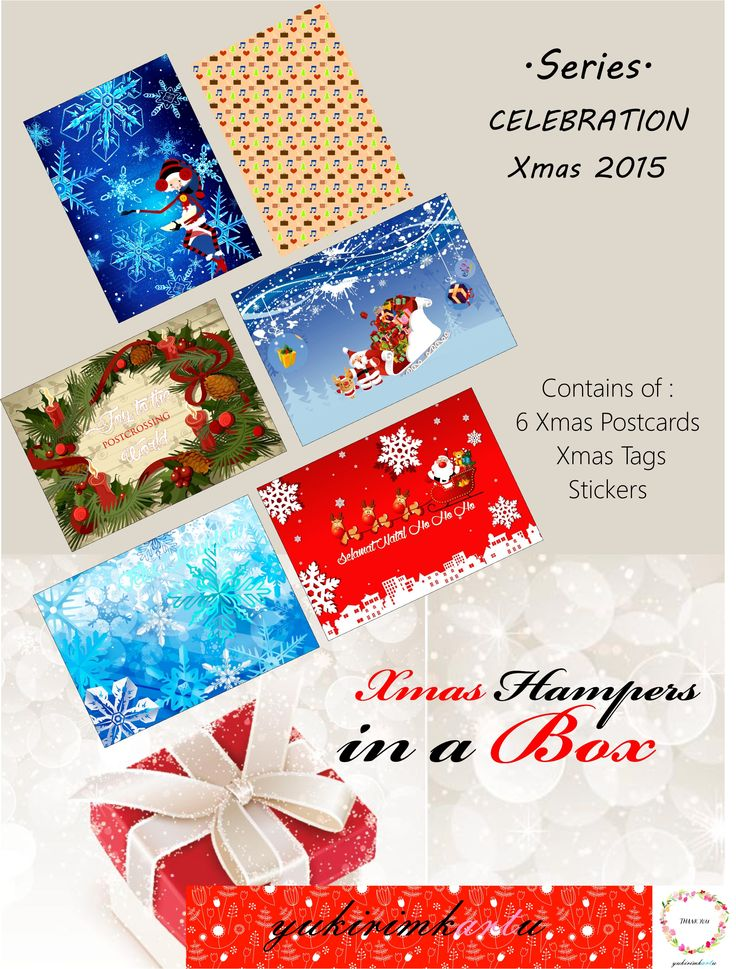Xmas 2015 Series, It's a hampers contains of 6 xmas postcards, xmas tags and sticker. Only available during xmas festive season.  Contact us for more detail at FB page https://www.facebook.com/yukirimkartu