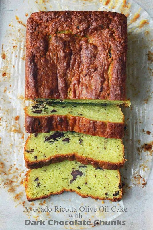 Avocado Ricotta Olive Oil Cake with Dark Chocolate Chunks from  http://milk-and.blogspot.com/