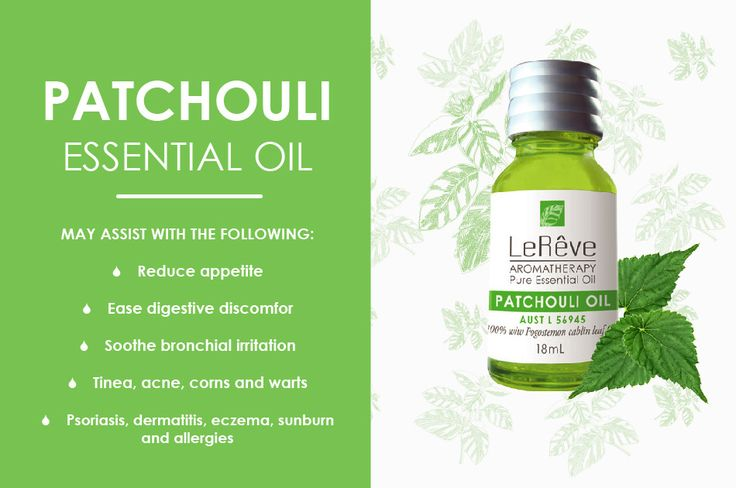 Patchouli essential oil may assist with the following: reduce appetite, ease digestive discomfort, soothe bronchial irritation, tinea, acne, corns and warts, psoriasis, dermatitis, eczema, sunburn and allergies. All Le Reve essential oils are listed on the Australian Register of Therapeutic Goods (ARTG). Available at http://www.lereve.com.au/aroma/Mix-Your-Own and http://www.aromatherapy.net.au/mix-your-own/?cat=pure-essential-oils