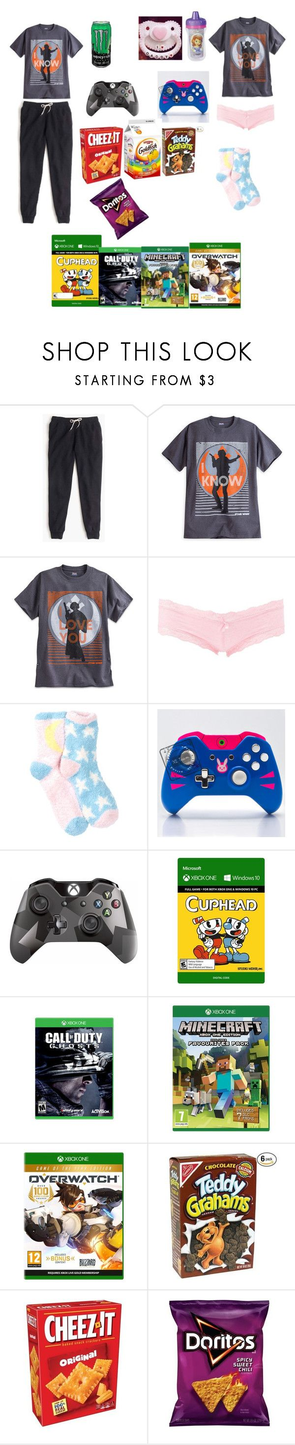 """Video games w/ daddy~"" by lil-panada-princess ❤ liked on Polyvore featuring J.Crew, Charlotte Russe, Free Press, Disney and Microsoft"