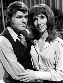 George Reinholt (steve frame) and Victoria Wyndham (rachel) Another World 1973.JPG