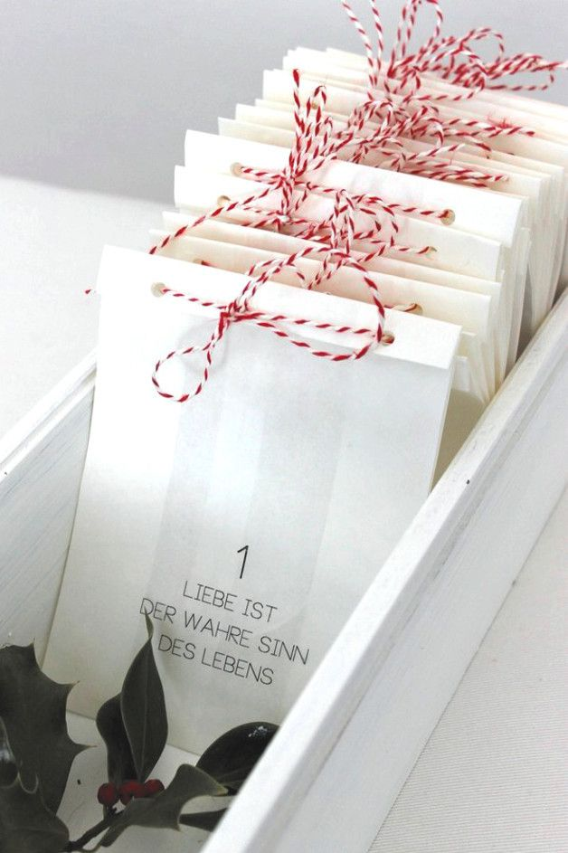 Adventskalender für Verliebte: 24 liebevolle Worte / 24 days of love, advents calendar, christmasby theartofvariety via DaWanda.com