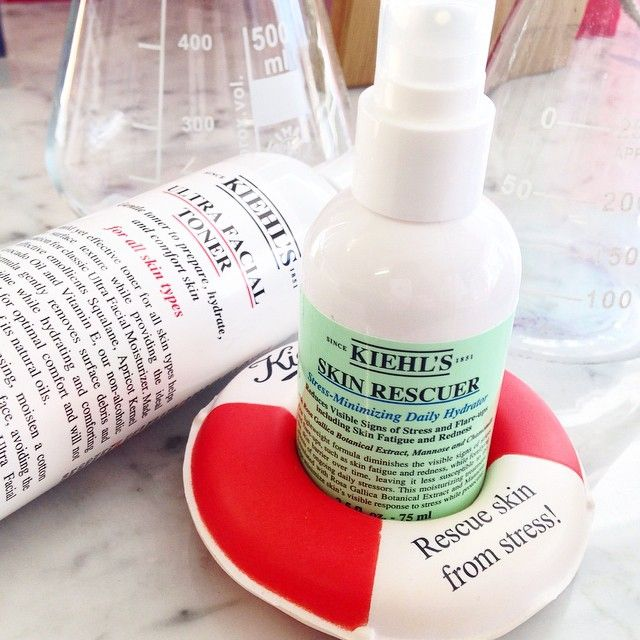 Is your skin stressing? Tell it to chill out with our daily hydration Kiehl's Skin Rescuer. Reduces visible signs of stress including fatigue and redness.  {#SkincareAdvice #ToTheRescue #KiehlsApothecary}