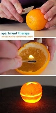 Apparently oranges burn like candles. No messy wax, and no wick required. Definitely trying this.: Orange Candles, Olives Oil, Olive Oils, Messy Wax, Orange Burning, Wicked Requir, Candles Ideas, Clementine Candles, Who Knew