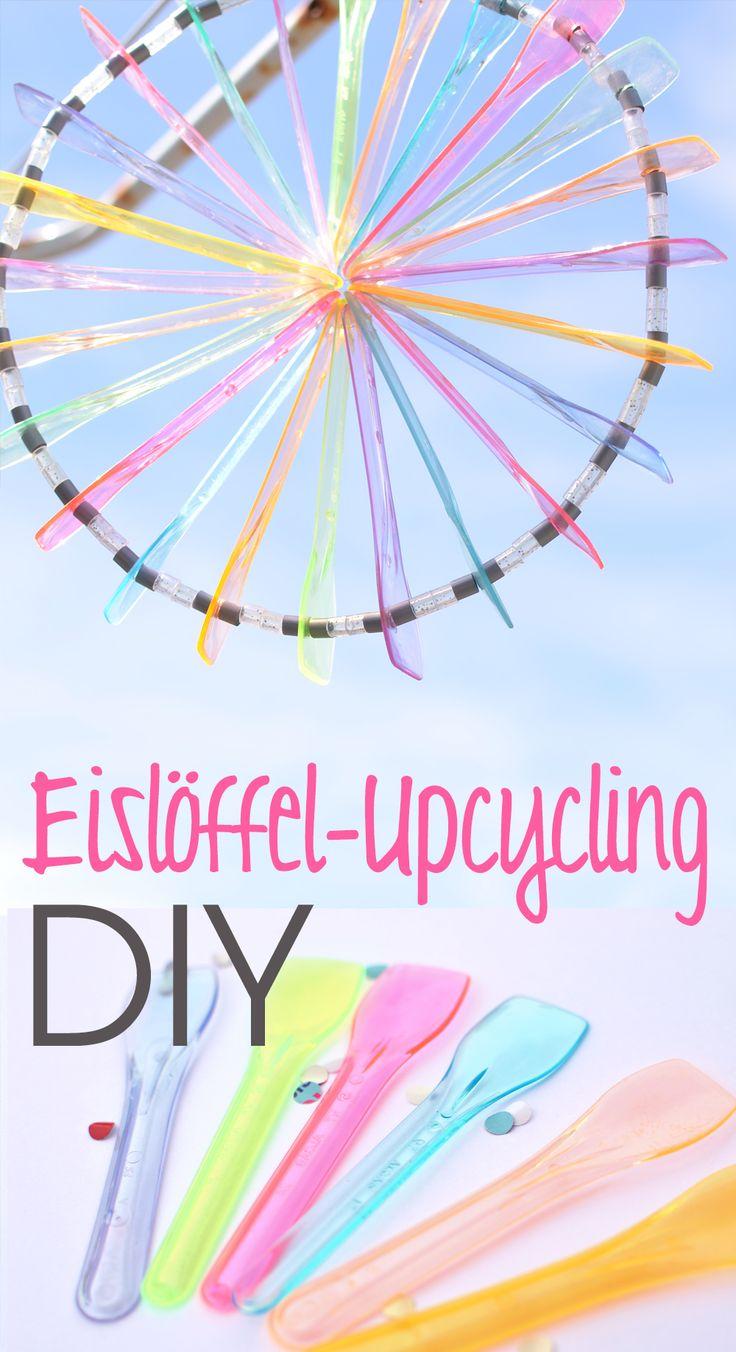 Upcycling DIY: Sonnenfänger aus Eislöffeln, Partydeko, Sommerparty, Basteln mit Eislöffeln