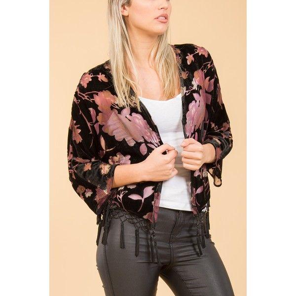 Jayley Black Silk Devore Jacket found on Polyvore featuring women's fashion