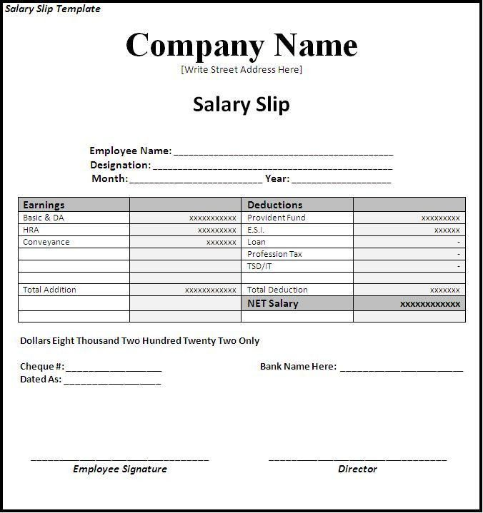 salary slip template word excel formats ms office