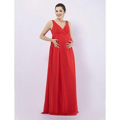 Sheath/ Column V-neck Floor-length Chiffon Over Elastic satin Maternity Bridesmaid/ Wedding Party Dress – USD $ 67.99