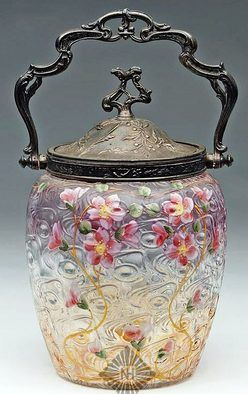 1850-1900 Victorian Art Glass Biscuit Jar With Amber Window Pattern Glass With Original Metal Bail And Handle, Multicolor Floral Enamel Decorations.