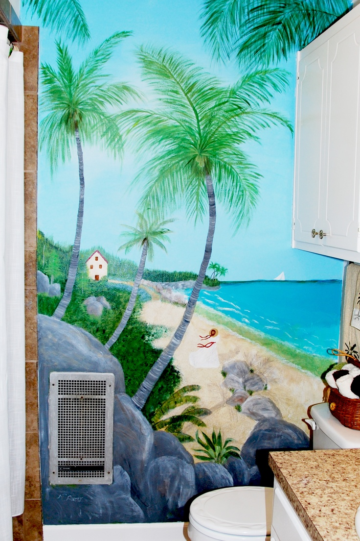 9 best murals for wooden fence images on pinterest beach mural this bathroom had a boring painted wall that was spiffed up with a beach scene