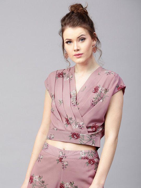 fee18ede6cf SASSAFRAS Women Mauve Floral Print Pleated Crop Wrap Top -