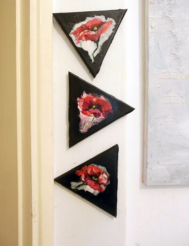 Set of 3 Triangular Canvas Originals Paintings Abstract Modern Poppies on black background - Acrylic on canvas, decoration set! by PapeMoe on Etsy