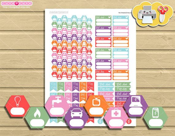 Payments tracker kit printable planner stickers by designby2
