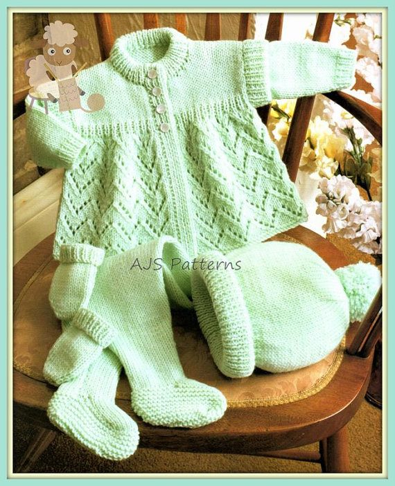 This PDF Knitting Pattern is for a cosy Pram Set with Coat, Hat, Mittens and Leggings. The leggings and Mittens and Hat are worked in stocking stitch. To fit 16 to 18 inch chests. Knitted in DK weight wool on a pair each of UK No.9 & No.11 knitting needles. You will need Adobe
