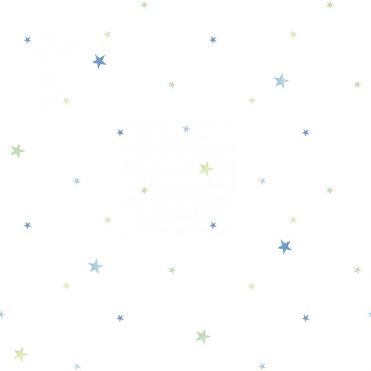 Kinderzimmer Tapete 'Sterne' blau/grün
