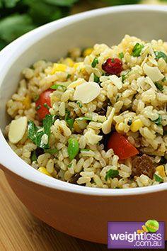Rice Salad Recipe. #HealthyRecipes #DietRecipes #WeightLoss #WeightlossRecipes weightloss.com.au