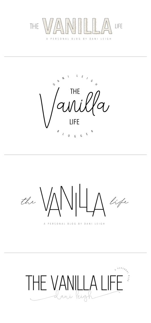 Initial logo concepts for The Vanilla Life by Erin Elizabeth Studio.