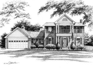 Pen and Ink illustration of two-story family home. Copyright 2016 Richelle Flecke