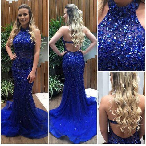 vestido de festa azul royal 2017