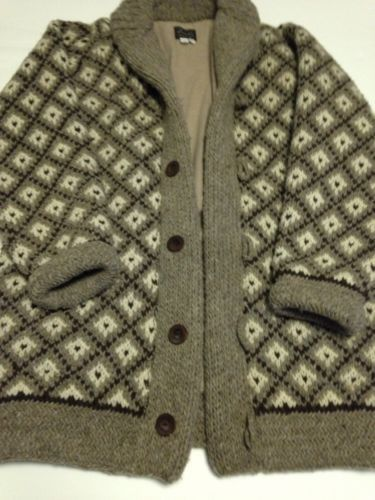 Mens Super Heavy Wool Sweater Cardigan Wood Buttons Lana