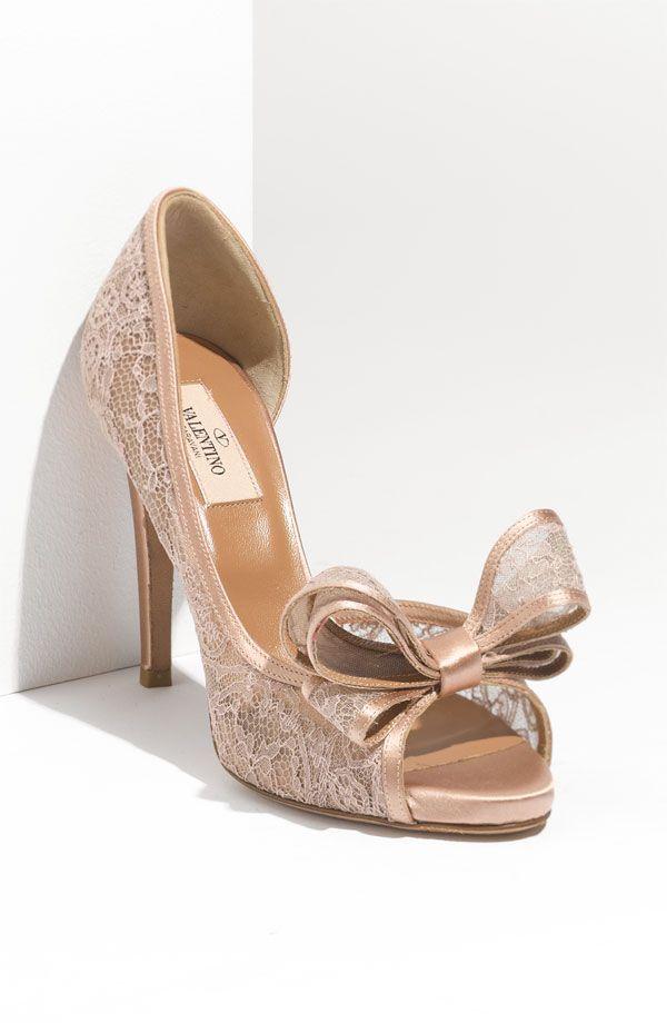 Valentino Lace d'Orsay Peep Toe Pump