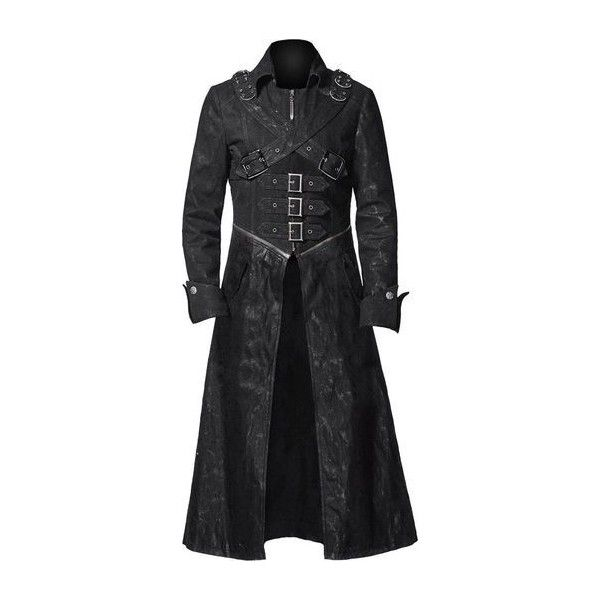 Gothic coats and jackets for women - The Black Angel ❤ liked on Polyvore featuring outerwear, coats, leather coat, gothic leather coat, real leather coats, gothic coat and goth coat