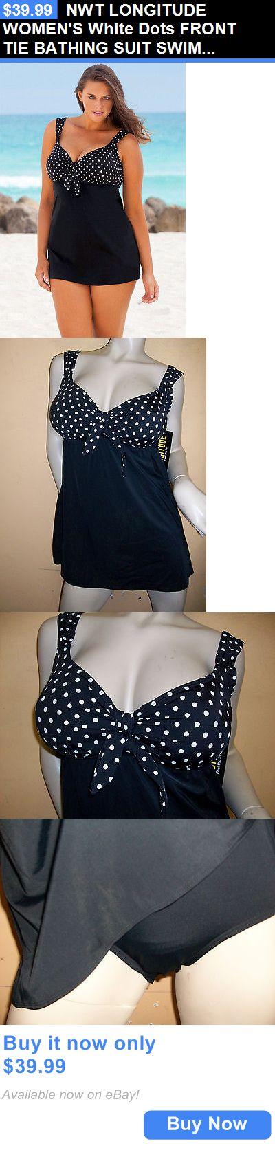 Women Swimwear: Nwt Longitude Womens White Dots Front Tie Bathing Suit Swim Dress Size - 18 BUY IT NOW ONLY: $39.99