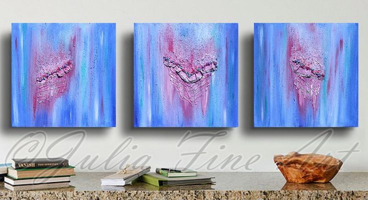 Blue Triptych Painting Abstract Painting Blue by JuliaApostolova